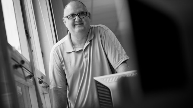 Black and white photo of assistant professor Michael Orey, Ed.D.