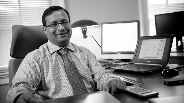 Black and white image of faculty. Swarnankur Chatterjee